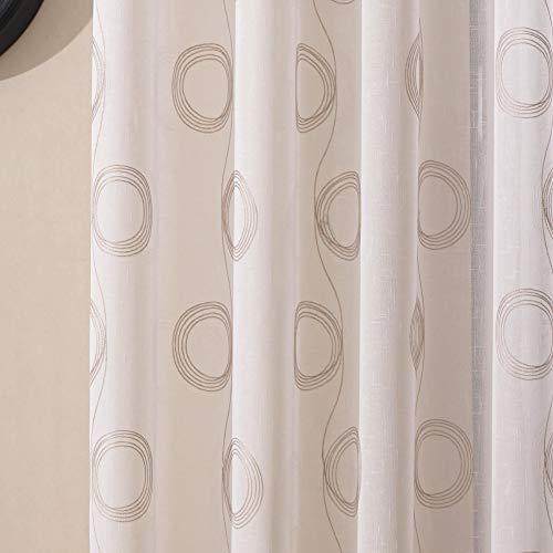 Viste tu hogar Pack 2 Cortina Decorativa Semi Translúcida con Bordado, Moderna y Elegante, para Salón o Habitación, 2 Piezas, 150X260 CM, Diseño de Círculos en Color Café Claro.