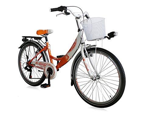 "Unbekannt 24\"" 24 Zoll Kinder City Fahrrad Kinderfahrrad Cityfahrrad Citybike Mädchenfahrrad Rad Bike 6 Gang Shimano Diva ORANGE"