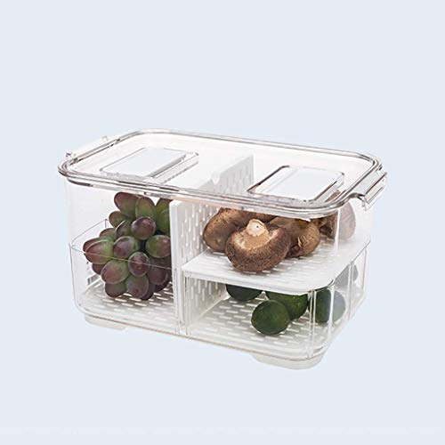 HYRGLIZI Refrigerator Food Storage Containers with Lids Kitchen Storage Seal Tank Plastic Separate Vegetable Fruit Fresh Box Big ml (Size : Two layer-large)