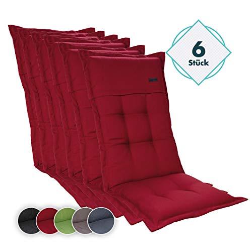 Homeoutfit24 6-Stück Gartenstuhl Auflage (123 x 50 x 8) Elbe, Hochlehner-Auflage aus Dralon, hochwertig, waschbar und pflegeleicht, in Rot