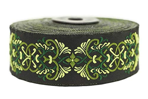 11 Yard 1.37 inch Celtic Knot Green Jacquard Ribbon Trim, Embroidered Sewing Band, Drapery for Curtain