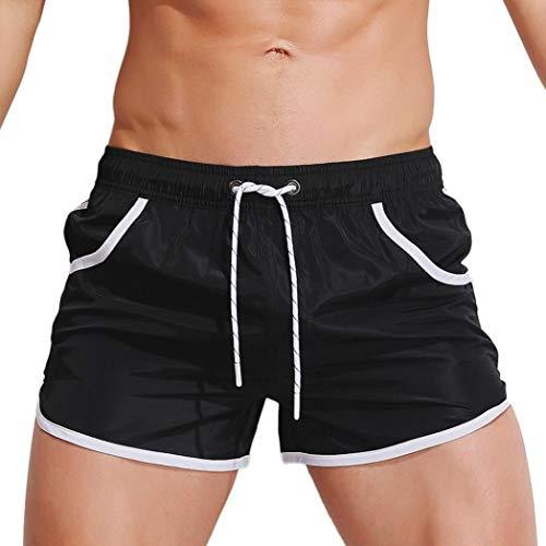 KPILP Herren Boxer Boxershorts Unterwäsche Sportswear Breathable Badehose Hosen Bademode Shorts Slim Wear Bikini Badeanzug Schwarz ( Schwarz,L