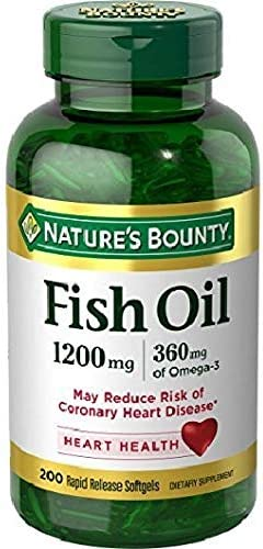 Nature's Bounty Fish Oil, 1200mg, 360mcg of Omega-3, 200 Rapid Release Softgels