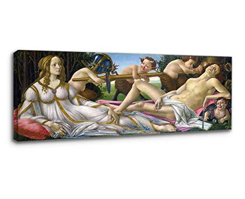 Grafik Botticelli Gemälde Venus und Mars - Venus und Mars von Sandro Botticelli - Druck auf Leinwand (Bild MIT HOLZRAHMEN, cm 70X30)