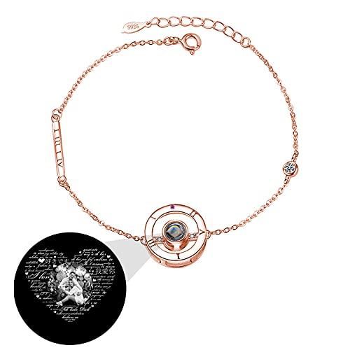 TE QUIERO Pulsera de proyección Pulsera de foto personalizada Pulsera personalizada Pulsera de 100 idiomas Navidad para mujer(Oro rosa Blanco y negro)