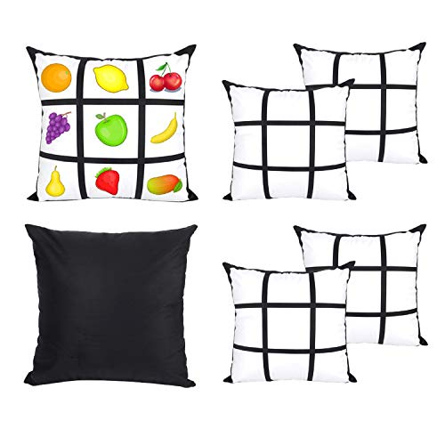 AQWJ 4 PCS Sublimation Blanks Polyester Panel Pillow Cases Cushion Cover Throw Pillow Covers 18 x 18 Inch for Sublimation Printing Sofa Couch DIY Blanks Pillow Case No Pillow Insert