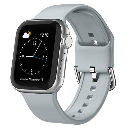 Adepoy Compatible with Apple Watch Bands 44mm 42mm, Soft Silicone Sport Wristbands Replacement Strap with Classic Clasp for iWatch Series SE 6 5 4 3 2 1 for Women Men, Light Grey 42/44mm