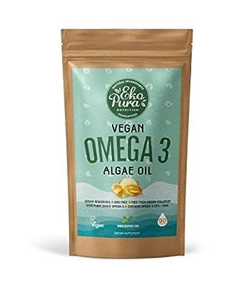 Vegan Omega 3 - Algae Oil, 90 Capsules (300mg DHA & 150mg EPA / Serving) - Sustainable Alternative to Fish Oil