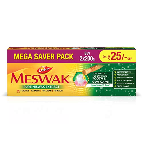 Dabur Meswak: India's No-1 Fluoride Free Toothpaste with Antibacterial, Anti Inflammatory & Astringent benefits |Helps fight Plaque, Tartar, Cavity and Tooth Decayy- 400gm(200gm*2)