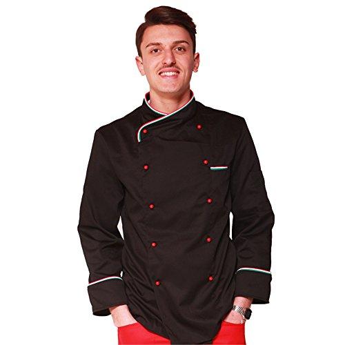 TCD GROUP Giacca Casacca da Cuoco Chef Italia (M, Nero)