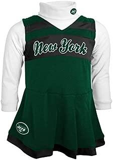 Outerstuff NFL Girls 4-6X Cheer Jumper Dress, New York Jets, Hunter, M(5-6)