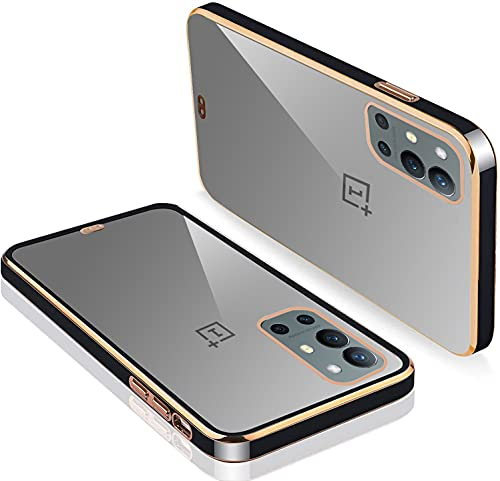 KARWAN® Square Platting/Chrome Case Back Cover with TPU, Slim Fit Transparent Electroplating Chrome Cases and Covers Compatible with OnePlus 9R /One Plus 9R / 1+9R – Black