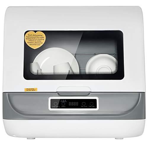 TOPQSC Tavolo per lavastoviglie per uso domestico, Lavastoviglie compatta da banco di grande capacità, Completamente automatico, lavaggio ad alta temperatura 70 ℃, asciugatura, 3 modalità regolabili