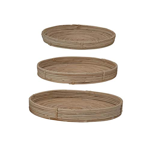 Bloomingville Natural Hand-Woven Cane Trays, Set of 3 Ablage, Gehstock, Natur