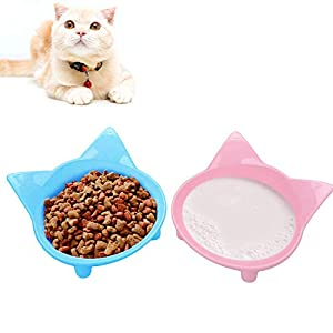 SUOXU Katzennäpfe, Anti-Rutsch Mehrzweck-Katzenfutternapf Haustier Wassernapf Katze Futternapf, Set von 2 – Blau/Rosa 3
