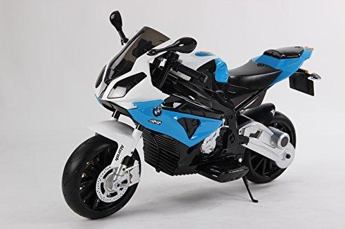 Moto Elettrica cavalcabile giocattolo colore BIANCO/BLU per bambini BMW S 1000 RR a batteria, autorizzata, ruote morbido EVA, telaio metallo, 2 motori, batteria 12V