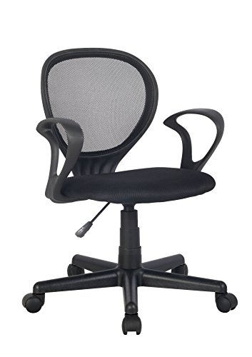 SixBros. Bürostuhl,Schreibtischstuhl, Drehstuhl für's Büro oder Kinderzimmer, stufenlos höhenverstellbar, Schreibtischstuhl für Kinder aus Stoff, schwarz, H-2408F/2058