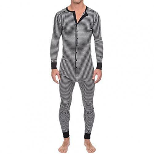 WAEKQIANG Traje De Pijama para Hombre, Ropa Interior, Mono A Rayas Ajustadas para Hombre, BotóN con Cuello En O De Manga Larga, Pijama De Una Pieza, Servicio General A Domicilio