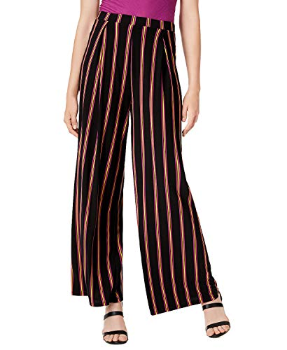 Bar III Womens Striped Pull On Wide Leg Pants Black L
