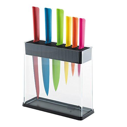 KUHN RIKON 26599 Colori+ Messerblock mit Messerset, 7-teilig, bestückt, 6 Messer, 1 Block schwarz/transparent, Plastik, 34.5 x 26.5 x 10 cm, 7-Einheiten