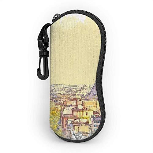 koniqiwa Sonnenbrille Brillenetui Aquarell einer schönen Ansicht von Paris in Frankreich Tasche Kratzfest staubsichere Brillenbox mit Gürtelclip für Schlüssel, Bleistifte, Karten