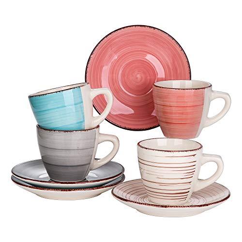 vancasso Bella Set di Tazze e Piattini Servizi da caffè Americano tè Tazze da Cappuccino 220ml Colorate