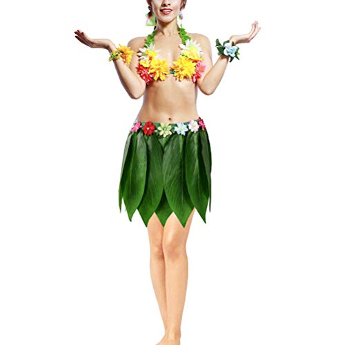 BESTOYARD Hawaiian Ti Leaf Rock grünes Gras Rock mit künstlichen Blumen Hawaiian Hula Kostüm Zubehör für Luau Beach Sommer Pool Party Supplies 30 Zoll
