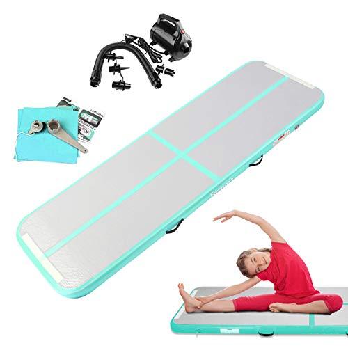 FBSPORT AirTrack Aufblasbar Gymnastikmatte Länge 3M Tumbling Matte Air Bodenschutzmatte für Gym Training Yogamatte Trainingsmatten Weichbodenmatte Turnmatte Fitnessmatte Aufblasbar Tragbar