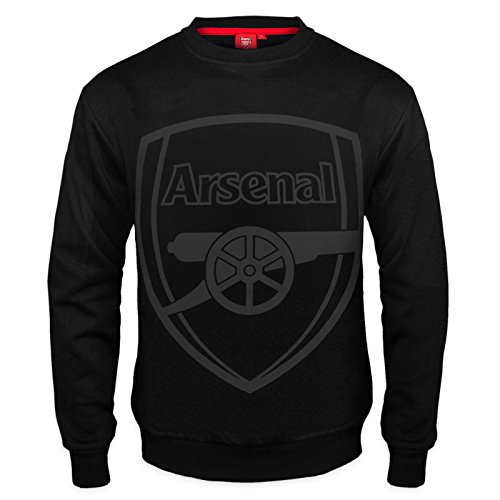 Arsenal FC Official Soccer Gift Mens Crest Sweatshirt Top Black Large