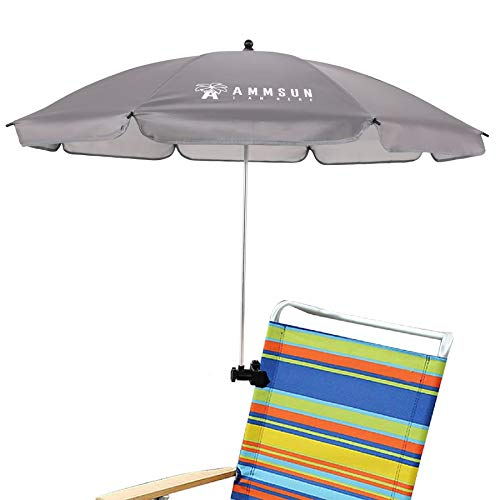 AMMSUN Beach Umbrella with Adjustable Clamp 43 inches UPF 50+, Portable Clamp on Stroller, Wheelchair, and Wagon (Blue)