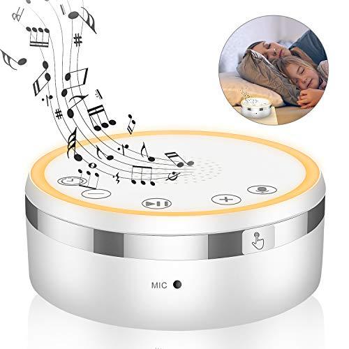 Ertisa White Noise Machine, Einschlafhilfe Weißes Rausche Maschine, 9 Natürliche Beruhigender Geräuschen, Sound-Therapie für Baby/Erwachsene, Timer Funktionen, LED Nachtlicht, Tonaufnahme