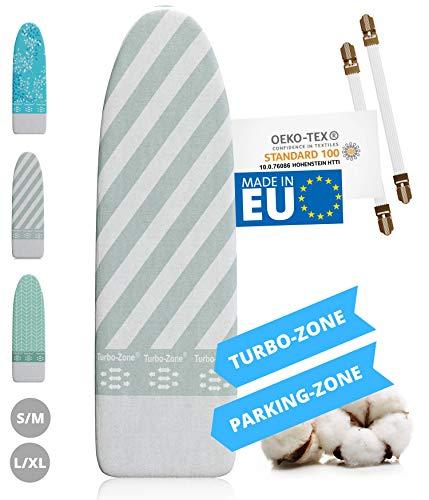 Innovativer Bügelbrettbezug für Dampfbügeleisen I Made IN EU I Bügeltischbezug mit Turbo Zone, Parking Zone und Spanner für Bügelbrett-Bezug