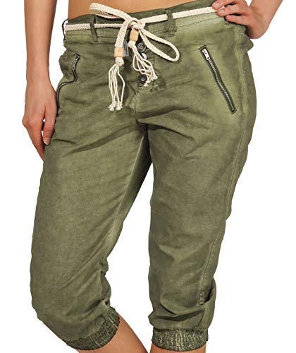 Sublevel Damen Dreiviertel Capri Shorts Hose LSL-328/334 Washed-Look inklusive Gürtel ivy Olive S