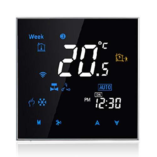 DECDEAL Controlador de temperatura programável digital de termostato inteligente de dois tubos para ar condicionado (BAC-3000AL, preto)