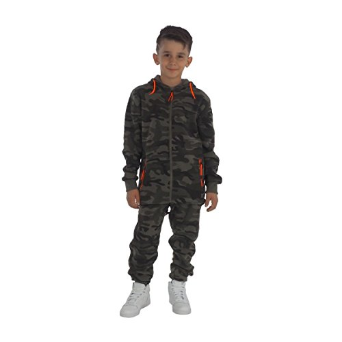 Fashion4Young 11400 kinderen joggingpak vrijetijdspak joggingjas en joggpants camouflage army-stijl camouflage pak
