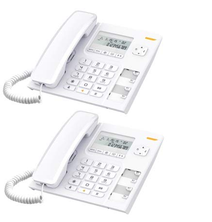 Alcatel T-56 White Corded Landline Phone with Caller ID and Hand-free Function - Pack of 2