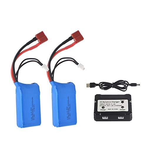 CENYAFAN 7.4V 2000mah 25C LiPo batería for WLTOYS A959-B A969-B A979-B K929-B Drone batería Control Remoto de Coches helicópteros Herramienta de Montaje de Piezas RC (Color : 2batterycargerset)