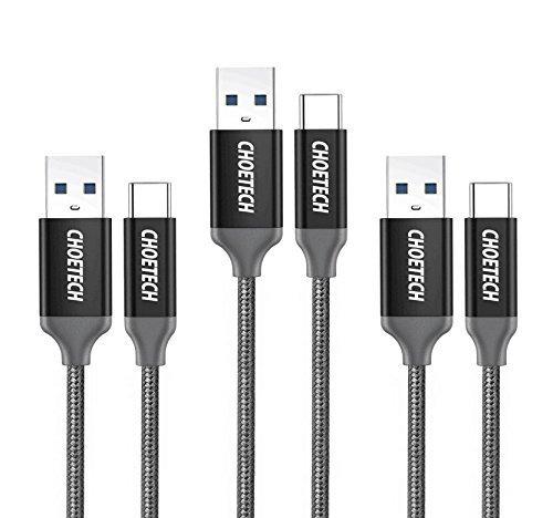 CHOETECH USB Typ C Kabel (3 Stücke, 1m*2+2m*1) USB C Kabel auf USB 3.0 Nylon Umflochtenes Ladekabel für Galaxy S9/S9 Plus/S8 S8 Plus, Note 8, Huawei P20 Pro, Lumia 950xl/950, Nexus 5x/6p, HTC 10 usw.