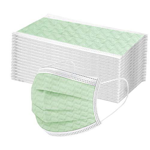 COMIOR 50 Stück Mund und Nasenschutz Erwachsene Einmal-Mundschutz Mundbedeckung 3-lagig Atmungsaktiv Bedeckung Elastic Ear Loop Face Bandanas Outdoor (50PCS, Grün)