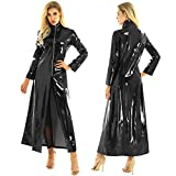 CHICTRY Women/Man's Shiny Metallic Leather Turtleneck Trench Coat Long Jacket Black Small