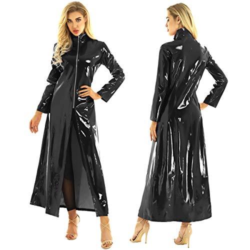 CHICTRY Women/Man's Shiny Metallic Leather Turtleneck Trench Coat Long Jacket (Medium, Black)
