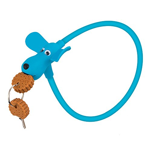 SUSEMSE Silicone Cable Bike Lock Key GK102 Cartoon UV Resistance Anti Scratch Dog Lock for Kids 2.36''x10mm with 2Keys (Blue)