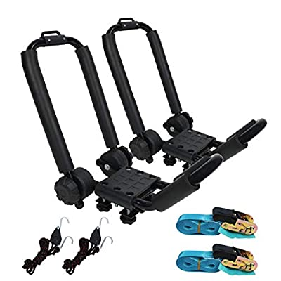 Premium Folding Kayak Rack J-Bar Car Roof Rack for Canoe Carrier SUP Paddle Surfboard Mount on Car SUV and Truck Crossbar? Includes 2 pcs 10Ft S-Hook Rated Ratchet Pulleys Straps Ratchet Strap?1 Pair