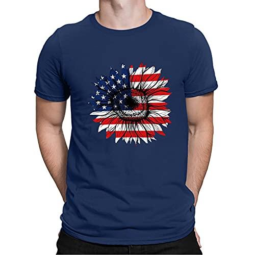 YSYOkow Camiseta para hombre Verano 3D Impresión Digital Día de la Independencia Camiseta Manga Corta Blusa