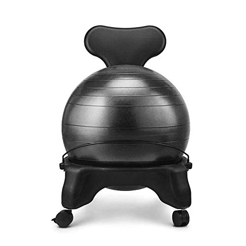 R & R Enterprises Fitness Ball Stuhl Office Yoga Ball Stuhl Massagestuhl Home Stuhl Balance Ball Haltung Stuhl Mit Rädern (Schwarz) (Color : Black, Size : 52 * 79cm)