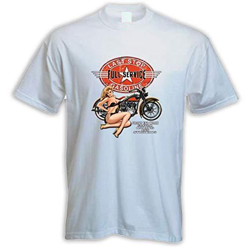 Biker Pinup Chopper Bobber USA - Camiseta de manga corta, color blanco Blanco XXXL