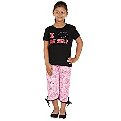FICTIF Kid Girls Black and Pink Color Top & Capri Set