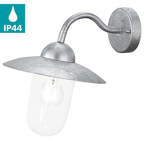 EGLO Außen-Wandlampe Milton, 1 flammige Außenleuchte, Wandleuchte aus Stahl feuerverzinkt und Glas, Farbe: Silber, Fassung: E27, IP44