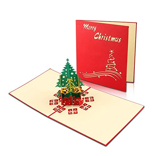 Natale 3D Auguri Biglietto, Cartoline di Natale, Cartoline di Natale 3D, Biglietto di Auguri Pop-Up con Busta, Squisito Taglio di Carta, Albero di Natale, Carta Regalo Creativa per Regali di Festa