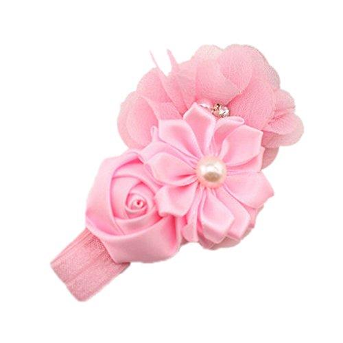 Schöne Engel Mädchen Baby Haarband Stirnbänder Perlen Blumen (Rosa)